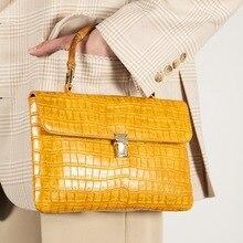 Bolso grande de piel sintética de PU para mujer, prenda superior de bambú, con estampado de cocodrilo, moda 2020, amarillo, negro, blanco, marrón, Color Camel