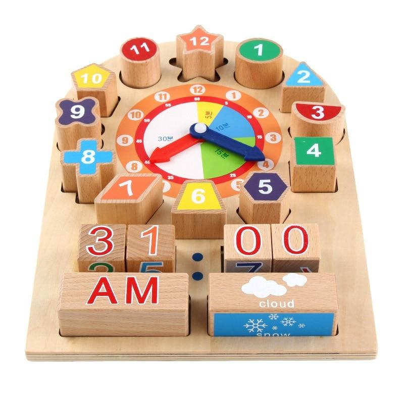 JULYS SONG, rompecabezas Montessori de madera de 30x21,5 cm, clasificación de bloques de matemáticas, juego educativo de aprendizaje preescolar para bebé