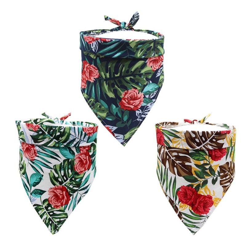 Bavoir en coton Rose romantique chien   Animal de compagnie imprimé Bandana, bavoir chien chat confortable, écharpe triangulaire, accessoires de toilettage réglable pour chien
