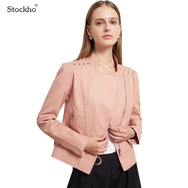 المرأة سترات من الجلد 2021 موضة الربيع والخريف بولي Jackets قصيرة جاكيتات المرأة ملابس للدراجة النارية سترات رجالي سليم قصيرة