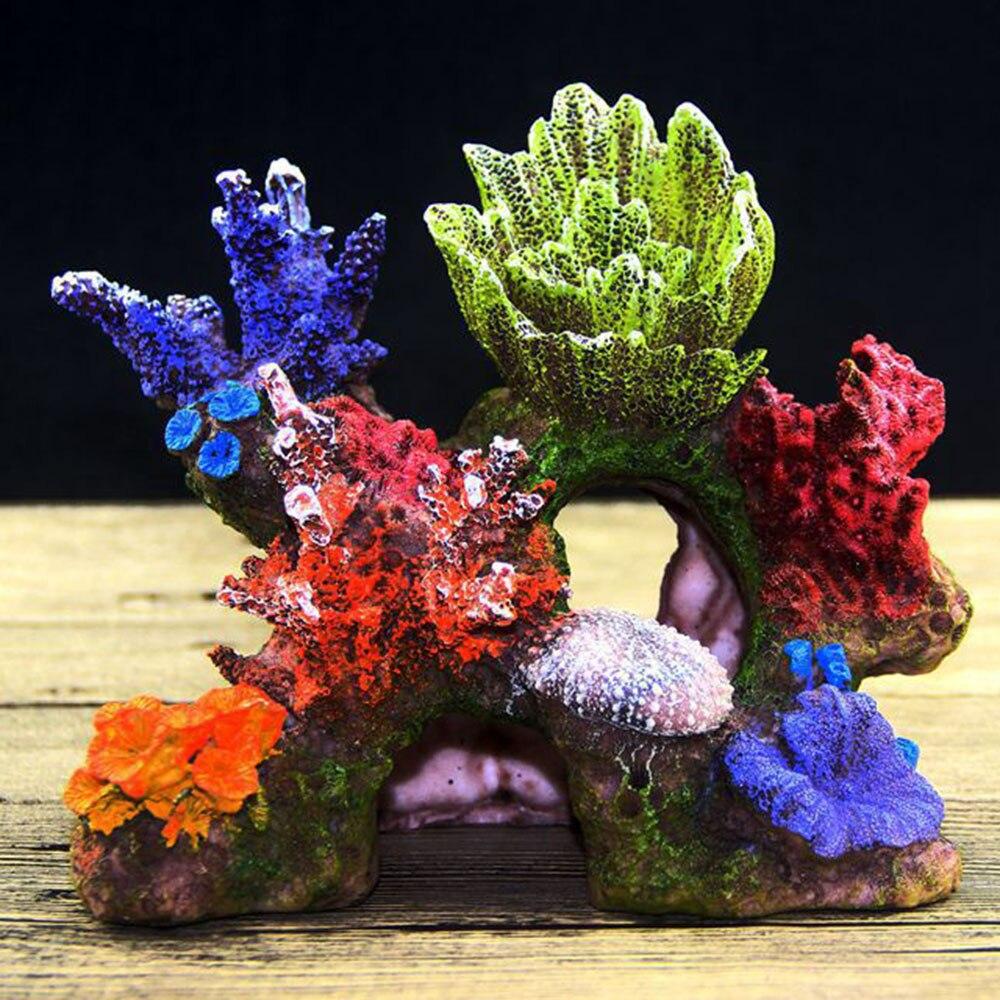 Planta de Coral Recife de Coral Tanque de Peixes Resina Colorida Aquário Montanha Decoração Escondendo Caverna Escudo Ornamento