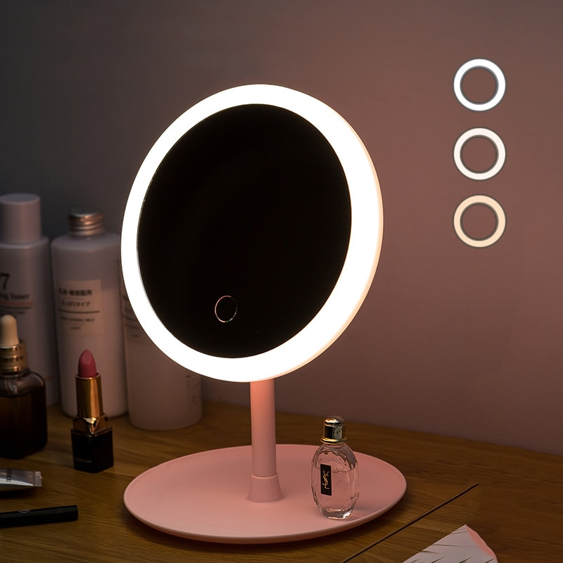 Led Light Makeup Mirror Storage LED Face Mirror Adjustable Touch Dimmer USB  Led Vanity Backlit Mirror Table Cosmetic Mirror