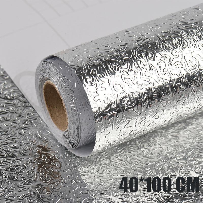 Pegatinas impermeables a prueba de aceite para cocina, papel de aluminio de 40x100cm, papel de pared autoadhesivo para armario de cocina, papel de pared DIY