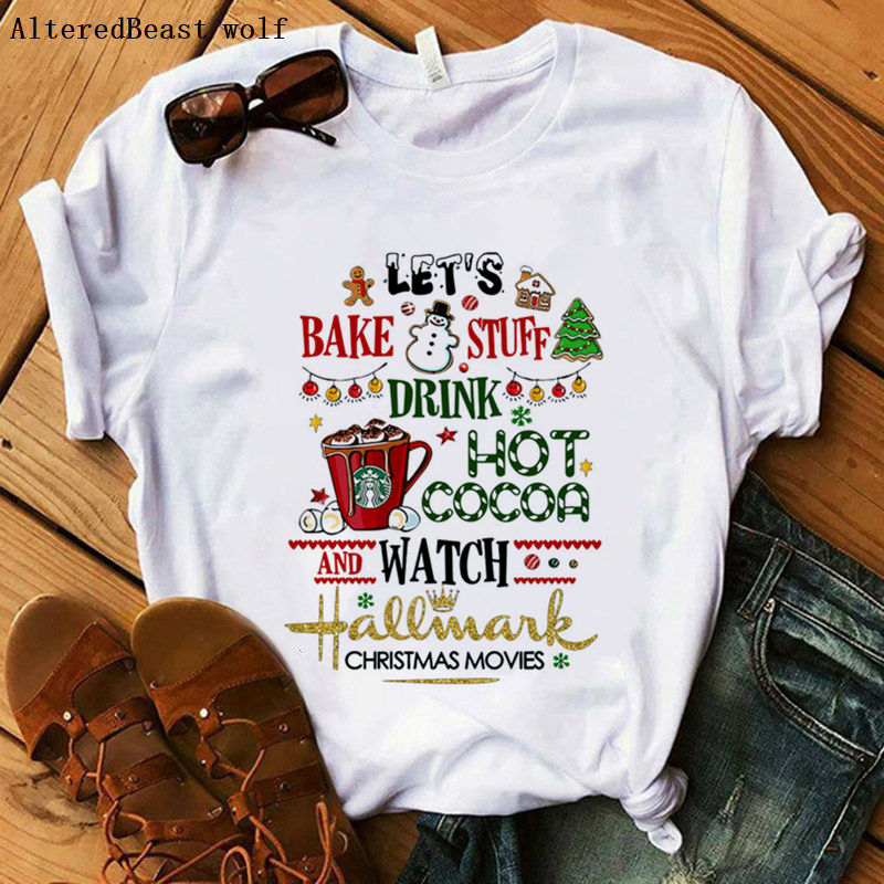Vamos a hornear cosas bebida Hot Cocoa y ver la película de Navidad camiseta mujer ropa casual tops estético vogue divertida camiseta blanca