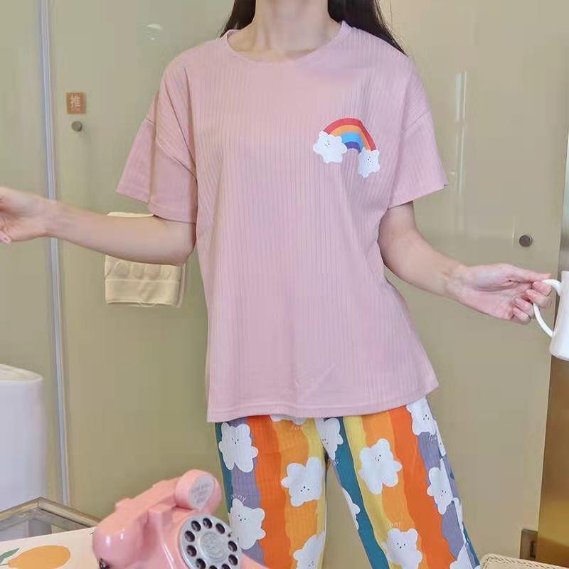 Женские пижамы, новинка 2021, Kawaii, пижамы с радужным принтом, летние хлопковые пижамы, весенние милые пижамы, комплекты из двух предметов, мила...