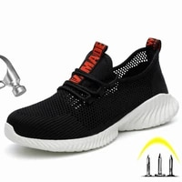 breathable mens safety shoes with steel toe cap non slip puncture proof men work boots lightweight shoes working sneakers