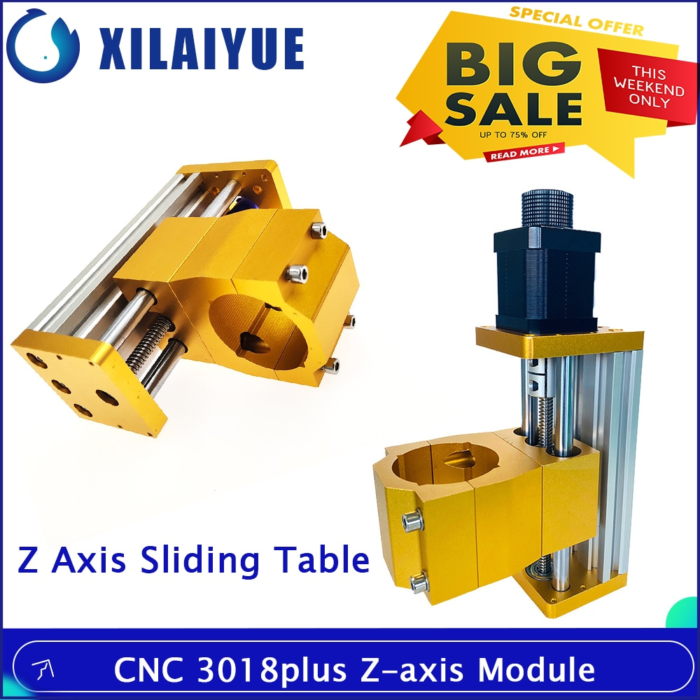 CNC 3018 Plus Z Axis Module Aluminum Z Axis Sliding Table Support to Use 300W Or 500W Spindle Apply For Nema17/42H Stepper Motor