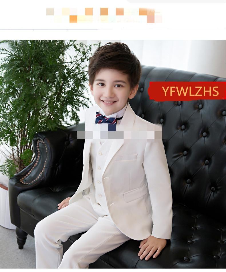 Hermoso traje de boda de dos botones con solapa chico niños, diseño completo, traje de boda para niños, hecho a medida (chaqueta + Pantalones + corbata + chaleco