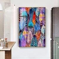 Affiches murales dart a la mode avec plume pour salon  toile imprimee HD  peintures a lhuile  decoration de maison  images dart