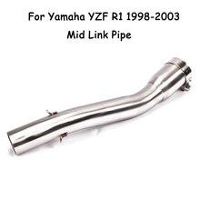 Deslizamento em r1 motocicleta modificado mid link tubo de escape do sistema escape conectar tubo para yamaha yzf r1 1998 1999 2000 2001 2002 2003