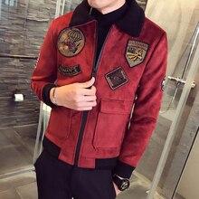 Thick Suede Coat Mens Jackets Mens Fur Collar Erkek Khaki Winter Slim Fit  Parka Velvet Bomber Jackets Mens Pilot Jackets
