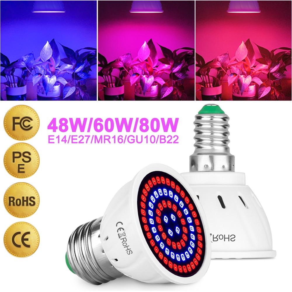 Lámpara LED para plantas, Copa E27 / E14 / MR16 / GU10/B22, crecimiento de plantas, 220V, luz de relleno para plantas, bombilla Led de cultivo Phyto de espectro completo