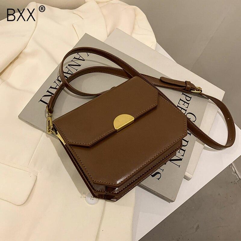 [BXX] PU Leather Crossbody Bag 2021 New High Quality Women's Designer Handbag Vintage Trending Shoulder Cross Body Bag HP818