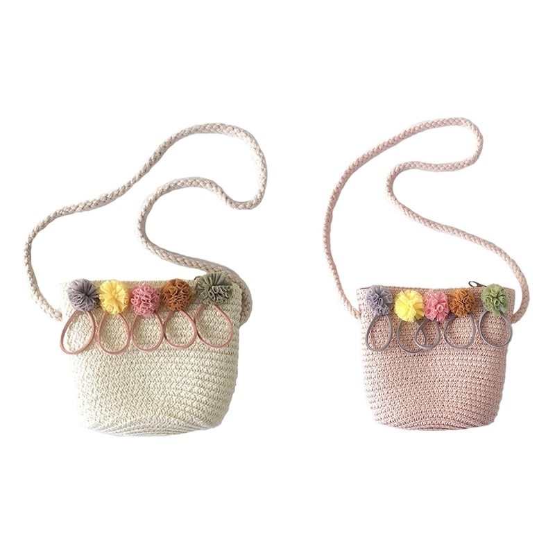 2 uds. Bolso de hombro para niñas, bolso cruzado de tejido de mimbre de paja para niñas (Rosa y blanco)
