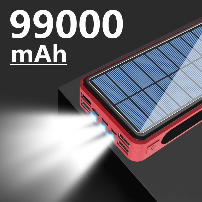 99000mAh Solar Battery Pack LED Light Powerbank Portable 4USB Mobile Phone Charger for Xiaomi Samsung IPhone