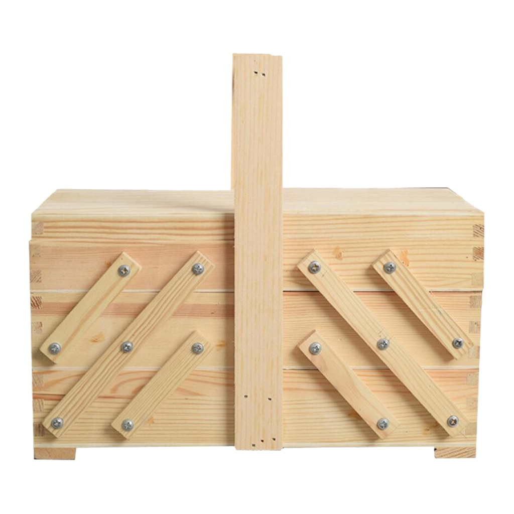 Cantilever 3 Tier Sewing Box Wooden Sew Kits Supplies Storage Case Holder Container Handmade Handcraft Organize Case Grandma Gif