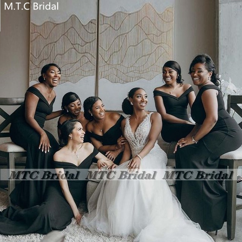 New 2021 Black Mermaid Bridesmaid Dresses Long Off The Shoulder Corset Plus Size South African Maid Of Honor Wedding Party Gowns