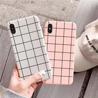 cartoon grid phone case for iphone xr x xs max 6s 7 8 plus se2020 classic plaid black phone cover for iphone 12 11 pro max coque