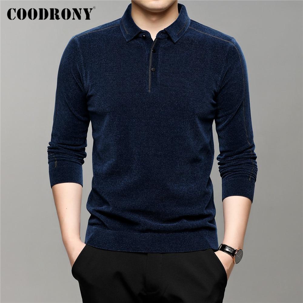 COODRONY – pull à col rabattu pour homme, vêtement en maille Chenille, doux et chaud, de marque, nouvelle collection automne hiver, C1336