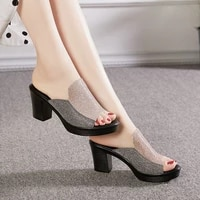 sequined high heels slippers new summer shoes woman bling mules talons feminino office lady platform open toe half slides
