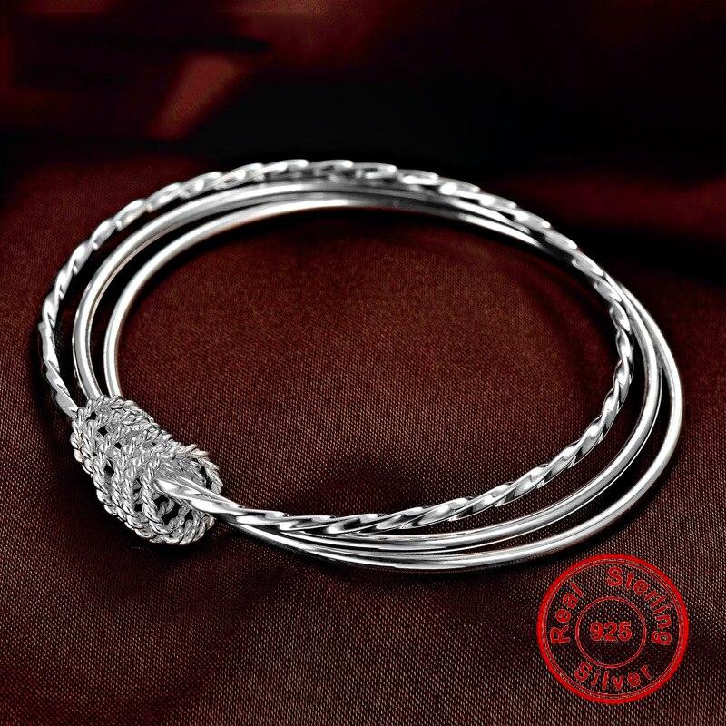 New S999 Sterling Silver Bracelet Bangle For Women Multi-layer Pure Silver Bracelet Charm Bangle Wedding Birthday Fine Jewelry