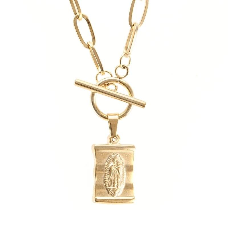 Collar de acero inoxidable con palanca de la Virgen María para mujer,...
