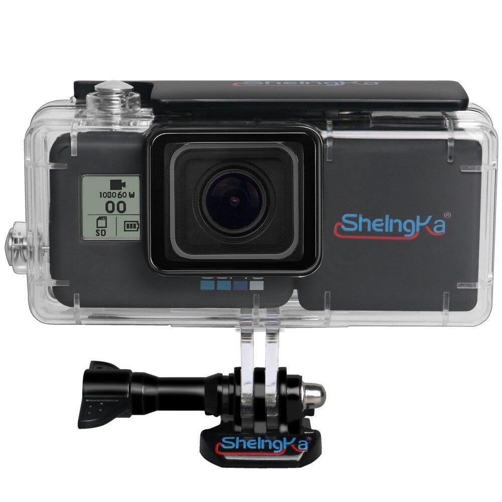 جراب واقٍ مقاوم للماء لـ Gopro Hero 5 6 7 ، مع بطارية ممتدة ، ملحقات كاميرا سوداء