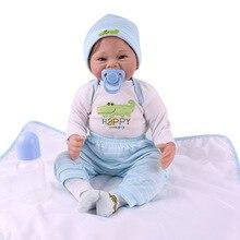 55CM Silicone Reborn bébé poupée réaliste sourire bébé tissu corps enfant en bas âge Reborn bébés poupées Bonecas cadeau danniversaire jouets pour enfants