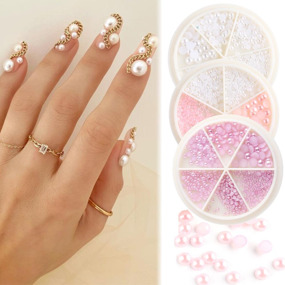6 grilles perle Caviar perles ongles strass roue pour Nail Art décor 3D Flatback multi-taille rose bijoux gemmes ongles pierres GL1842