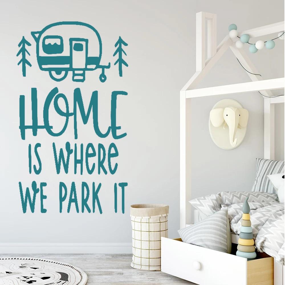 Travel Wall Stickers Home Is Where We Park It Caravan Creatives Trip Quotes Vinyl Decals Bedroom Decor Livingroom Mural DW20437