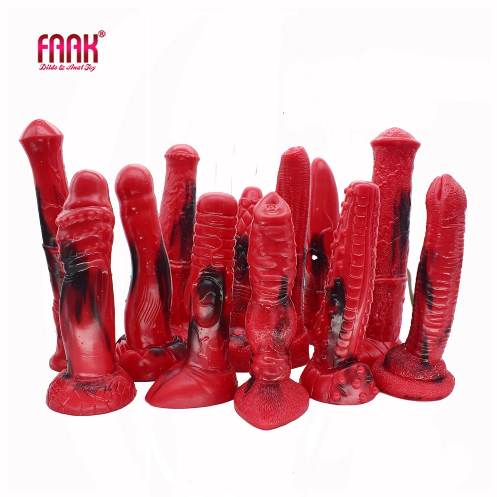 FAAK 2020 new red and black colorful animal horse dildo dog wolf fake penis sex toys for women female masturbate adult games