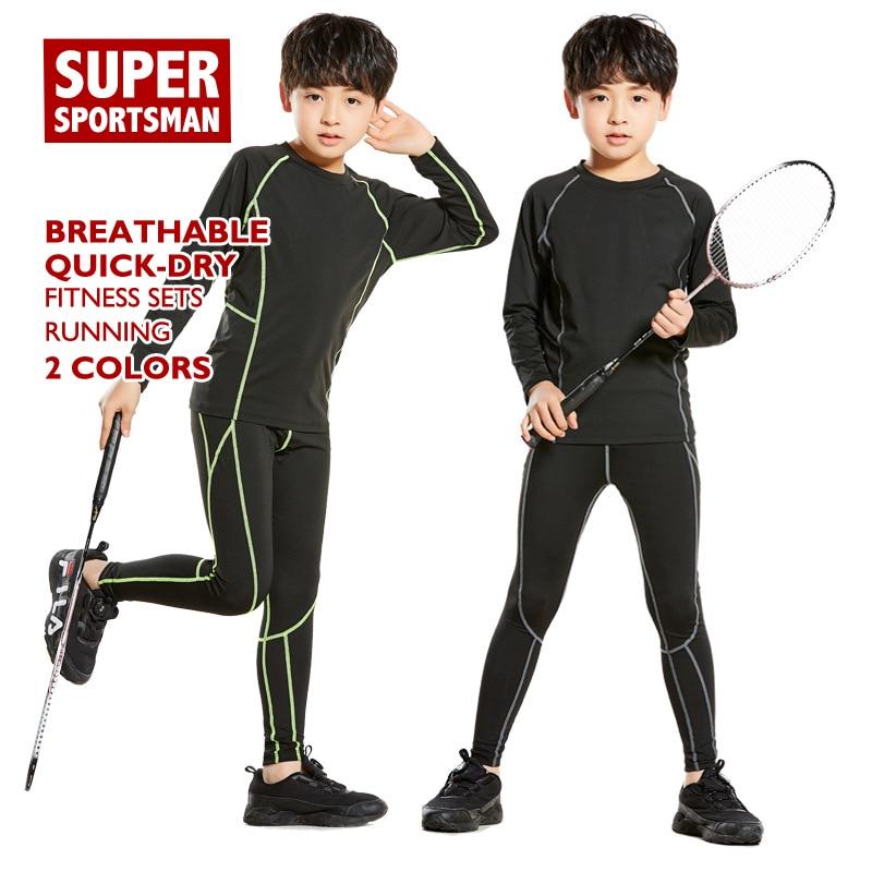 Basketball Compression Set Men Kids Running Leggings Fitness Gym Wear Sport Tights Children Yoga T Shirt Tops Pants Jogging Suit