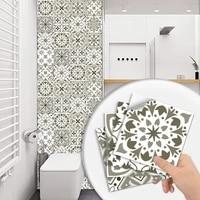 Autocollants muraux de sol en carreaux durs gris  10 pieces  cuisine  salle de bains  Tables  decoration papier peint  peler et coller  Surface brillante  Art Mural