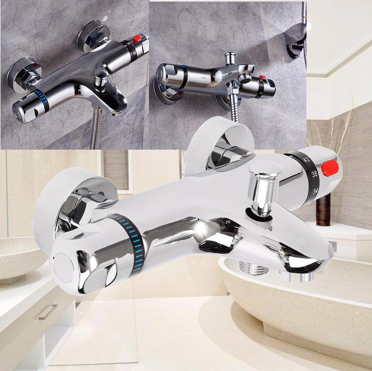 Grifos termostáticos de baño mezclados, válvula de Control de agua, grifo mezclador de cerámica con dos asas montado en la pared