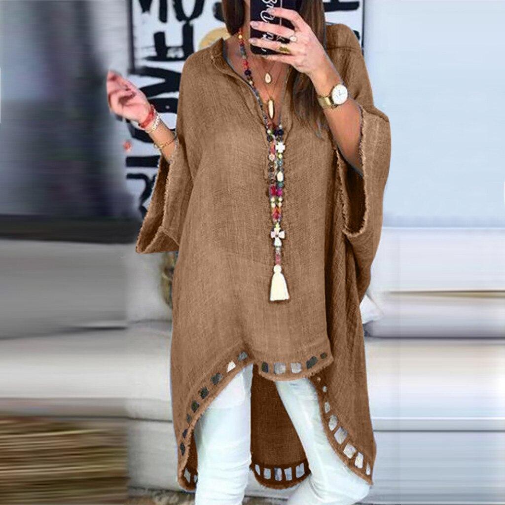 2019 herbst Shirts Frauen Mode Damen Casual Stil Blusen V- Neck Leinen Soild Lose Tops in Hohe Qualität chemise femme