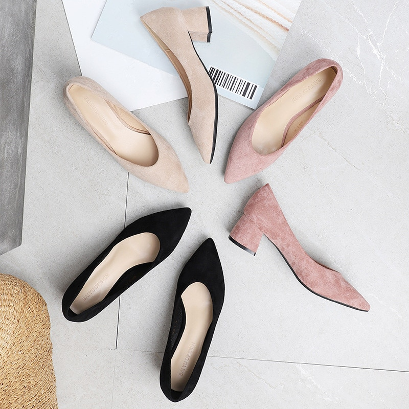 Spring Autumn Office Shoes Women Pumps Med High Heels Party Simple Pointed Toe Shallow Square Heels