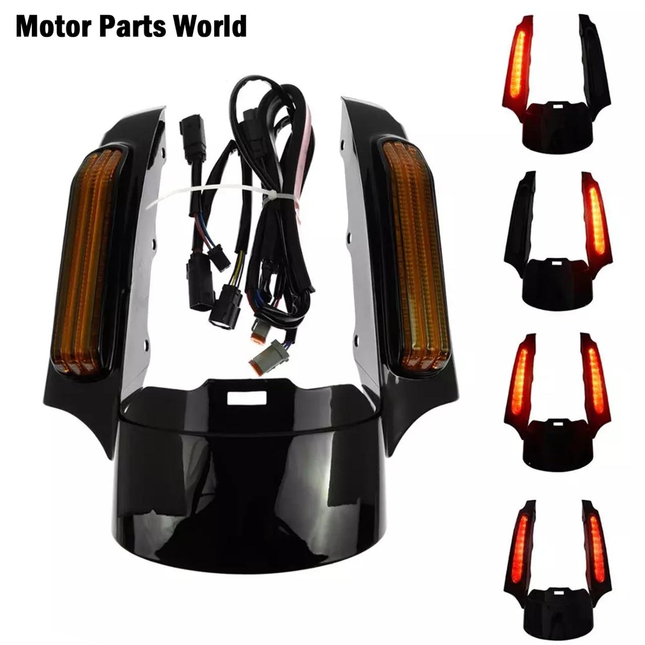 Luz LED trasera para motocicleta, conjunto de fascia negro brillante para Harley Touring Road Glide Electra Glide Road King CVO 2009-2013