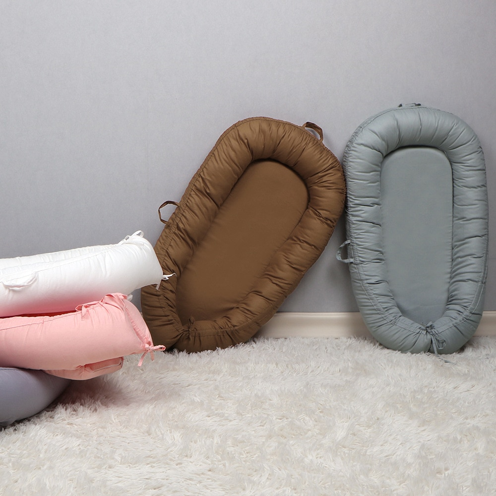 New Baby Bedding, Solid Color, Pure Cotton Bed, Portable Crib, Removable, Comfortable, Pure Cotton, Soft  Mattress Nap Mat