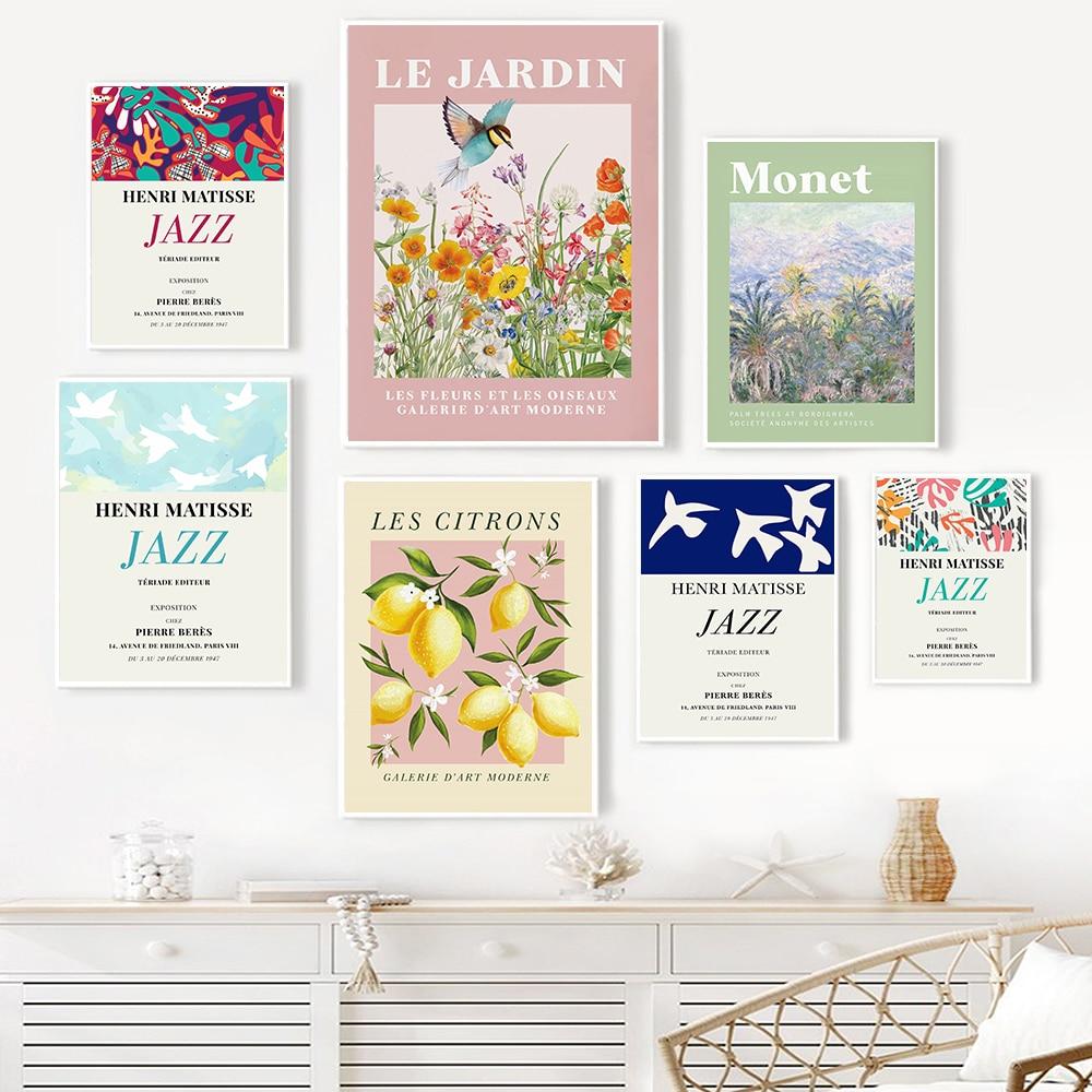 Винтажный постер henmatisse Jazz Doves, Художественная печать, выставочная Картина на холсте с изображением монета и цветов, комнатный Настенный дек...