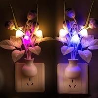 Цветной СВЕТОДИОДНЫЙ ночсветильник сиреневый с грибами, романтический ночсветильник-тюльпан, декоративное освещение для дома, вилка станд...