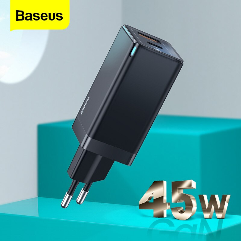 Baseus gan 45w usb c adaptador de energia carregador para microsoft surface pro 7 rápido pd portátil tablet carregador para xiaomi samsung huawei