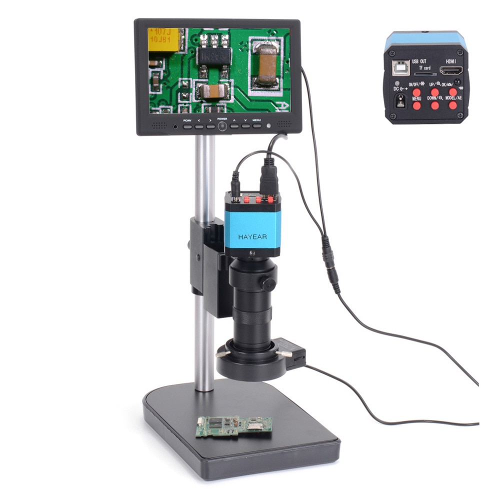 Hayear-كاميرا مجهر صناعي رقمية 14 ميجابكسل HDMI USB ، عدسة Zoon C-Mount 100X ، شاشة LCD 7 بوصة لإصلاح PCB ، لحام متنقل
