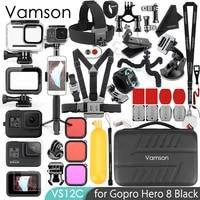 Vamson for Gopro 8 Black Waterproof Housing case for Gopro Accessories Kit Tripod monopod Mount for GoPro Hero 8 Camera VS12