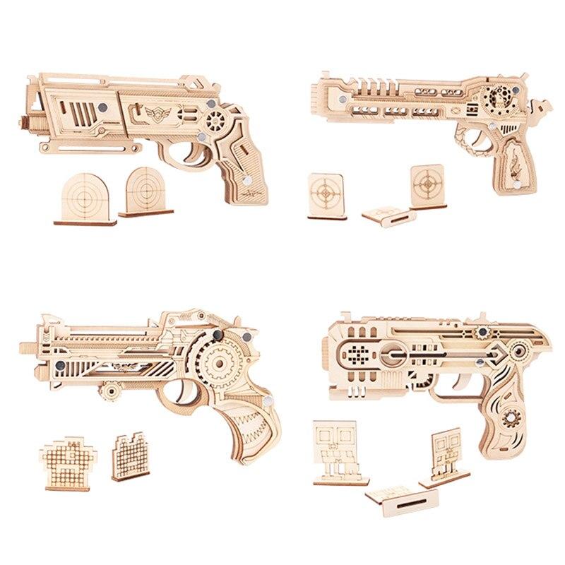ثلاثية الأبعاد خشبية لغز بندقية بانوراما ألعاب بالي DIY بها بنفسك الجمعية نموذج أطقم اليدوية الصيد الذئب النسر ألعاب تعليمية للأطفال هدايا