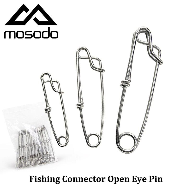 Mosodo 10 pièces/lot pêche Snap oeil ouvert pince fermer oeil connecteur pivote accessoires acier inoxydable taille 1.8 2 2.6