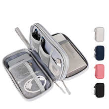 Органайзер для кабеля, сумка для аксессуаров для мобильных наушников и электроники, чехол для защиты кабеля, двухслойная многофункциональн...