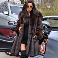 topfur new real mink fur coat for women x long 100 cm length brown fur coat high street ladies genuine leather fur jackets