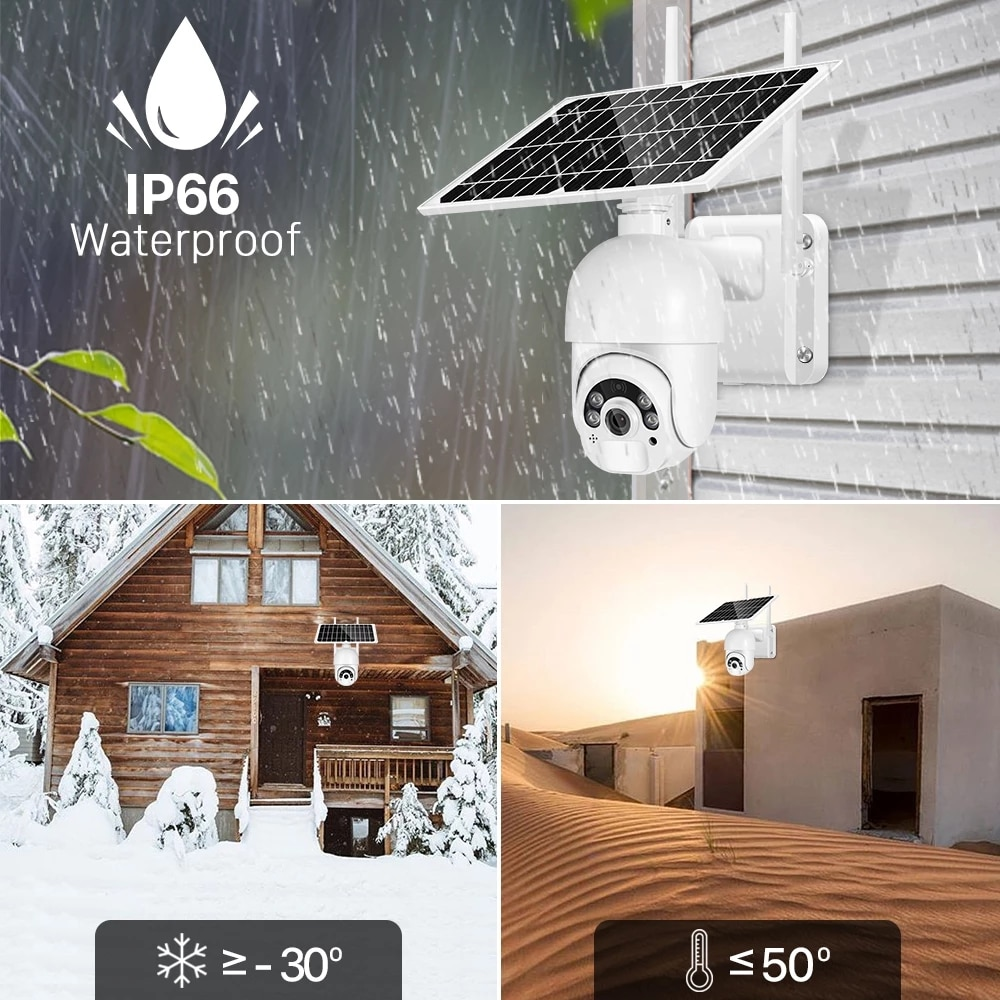 HONTUSEC 4G Camera 3MP Solar PTZ IP Camera Outdoor Night Vision Two Way Audio Solar Power Security Rechargeable Battery Camera