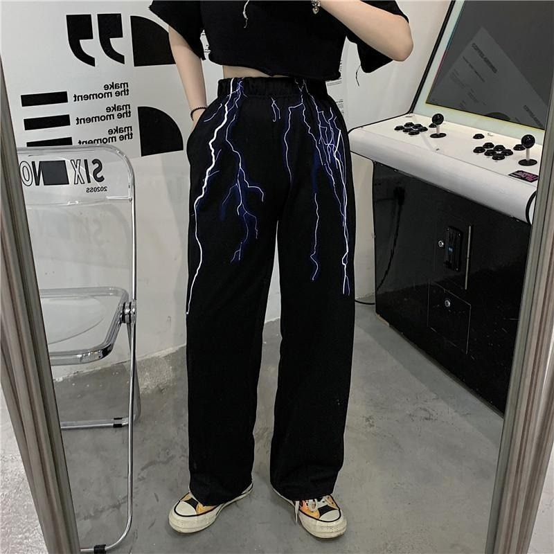 HOUZHOU Streetwear Lightning Print Wide Pants Women Gothic High Elastic Waist Casual Trousers Female Summer Aesthetic Techwear