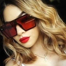 Oversized Square Sunglasses Women Luxury Brand Fashion Flat Top Red Black Clear Lens One Piece Men G